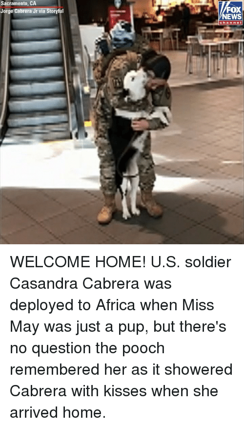 pooch: Sacramento, CA  Jorge Cabrera Jr via Storyful  FOX  NEWS  channel WELCOME HOME! U.S. soldier Casandra Cabrera was deployed to Africa when Miss May was just a pup, but there's no question the pooch remembered her as it showered Cabrera with kisses when she arrived home.