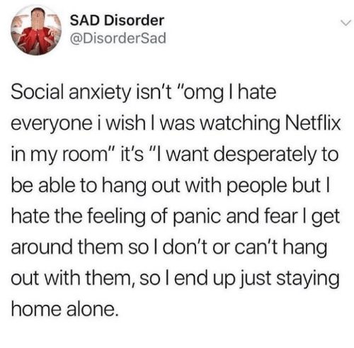 """i hate everyone: SAD Disorder  @DisorderSad  Social anxiety isn't """"omg I hate  everyone i wish l was watching Netflix  in my room"""" it's """"l want desperately to  be able to hang out with people but l  hate the feeling of panic and fer l get  around them so l don't or can't hang  out with them, so l end up just staying  home alone."""