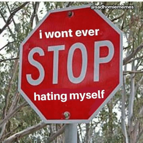 Hating: @sadhomiememes  i wont ever  STOP  hating myself