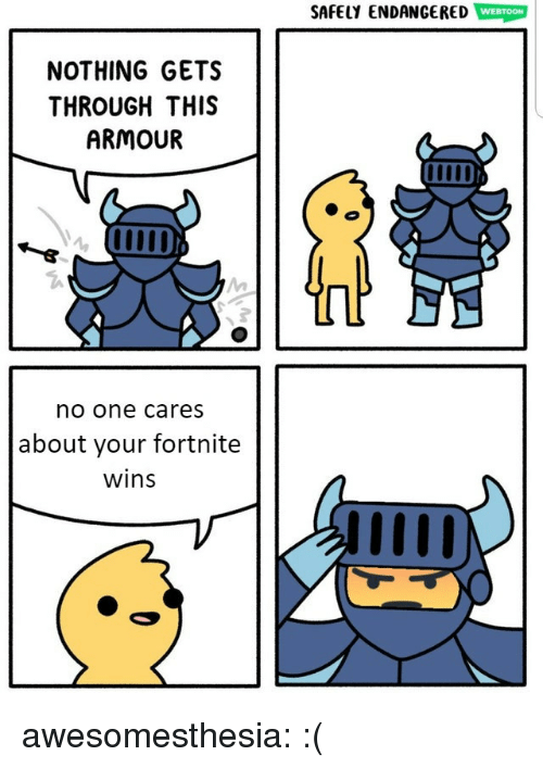 Tumblr, Blog, and Http: SAFELY ENDANCERED WEBTOON  NOTHING GETS  THROUGH THIS  ARMOUR  no one cares  about your fortnite  wins awesomesthesia:  :(
