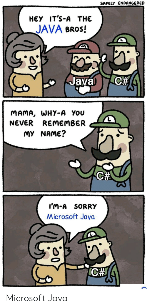 Microsoft, Sorry, and Java: SAFELY ENDANGERED  НЕУ IT'S-A THE  JAVA BROS!  C#  Javal  MAMA, WHY-A You  NEVER REMEMBER  MY NAME?  C#  I'm-A SORRY  Microsoft Java  ICH Microsoft Java