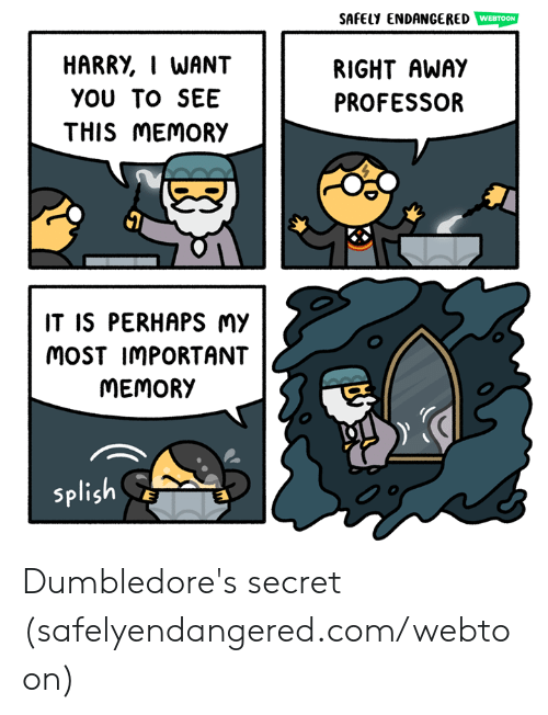 right away: SAFELY ENDANGERED  HARRY, I WANT  YOU TO SEE  THIS MEMORY  RIGHT AWAY  PROFESSOR  IT IS PERHAPS Mmy  MoST IMPORTANT  MEMORY  splish Dumbledore's secret (safelyendangered.com/webtoon)