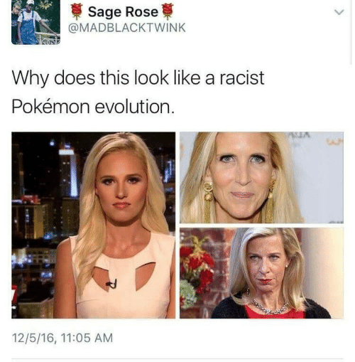 pokemon evolution: Sage Rose  @MADBLACKTWINK  Why does this look like a racist  Pokémon evolution  12/5/16, 11:05 AM  ৯