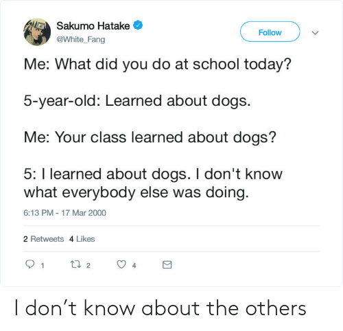 What Did You Do: Sakumo Hatake  Follow  @White_Fang  Me: What did you do at school today?  5-year-old: Learned about dogs.  Me: Your class learned about dogs?  5: I learned about dogs. I don't know  what everybody else was doing  6:13 PM - 17 Mar 2000  2 Retweets 4 Likes  t2  1  4 I don't know about the others