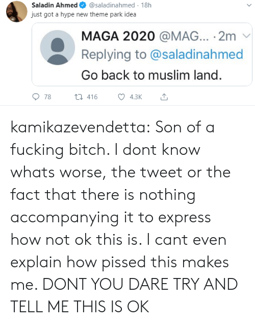 Bitch, Fucking, and Hype: Saladin Ahmed  @saladinahmed 18h  just got a hype new theme park idea  MAGA 2020 @MAG... 2m  Replying to @saladinahmed  Go back to muslim land.  78  t416  4.3K kamikazevendetta:  Son of a fucking bitch. I dont know whats worse, the tweet or the fact that there is nothing accompanying it to express how not ok this is. I cant even explain how pissed this makes me. DONT YOU DARE TRY AND TELL ME THIS IS OK