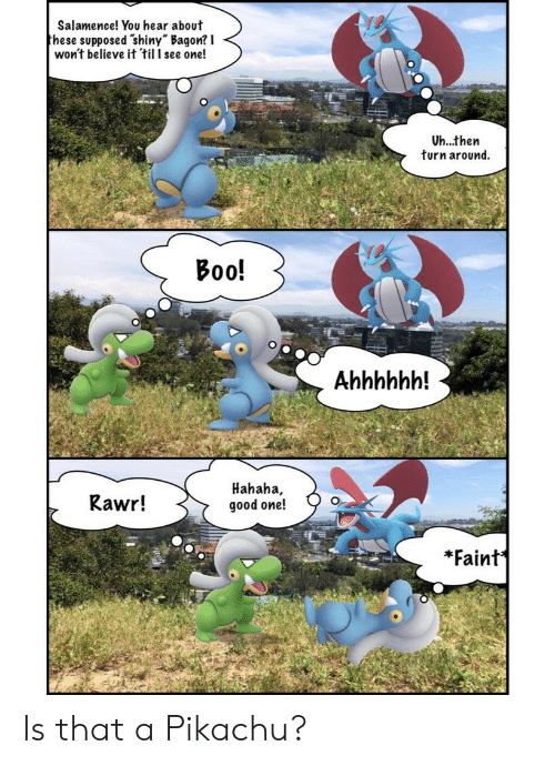 """Boo, Pikachu, and Good: Salamence! You hear about  hese supposed shiny"""" Bagon? I  won't believe it til l see one!  Uh...then  turn around.  Boo!  Rawr!  Hahaha,  good one!  *Faint' Is that a Pikachu?"""