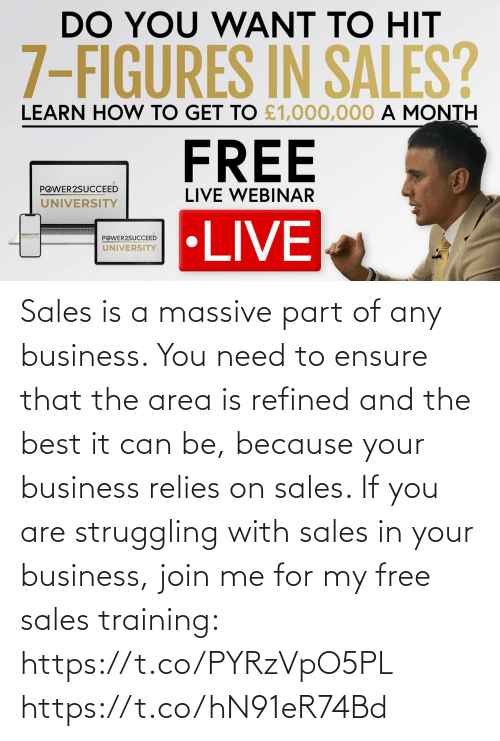 join.me: Sales is a massive part of any business. You need to ensure that the area is refined and the best it can be, because your business relies on sales.   If you are struggling with sales in your business, join me for my free sales training: https://t.co/PYRzVpO5PL https://t.co/hN91eR74Bd