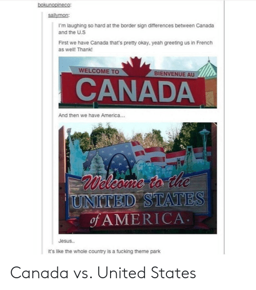 theme park: sallymon:  I'm laughing so hard at the border sign differences between Canada  and the U.S  First we have Canada that's pretty okay, yeah greeting us in French  as well! Thank!  WELCOME TO  BIENVENUE AU  CANADA  And then we have America...  D STATES  ofAMERICA  Jesus..  it's like the whole country is a fucking theme park Canada vs. United States