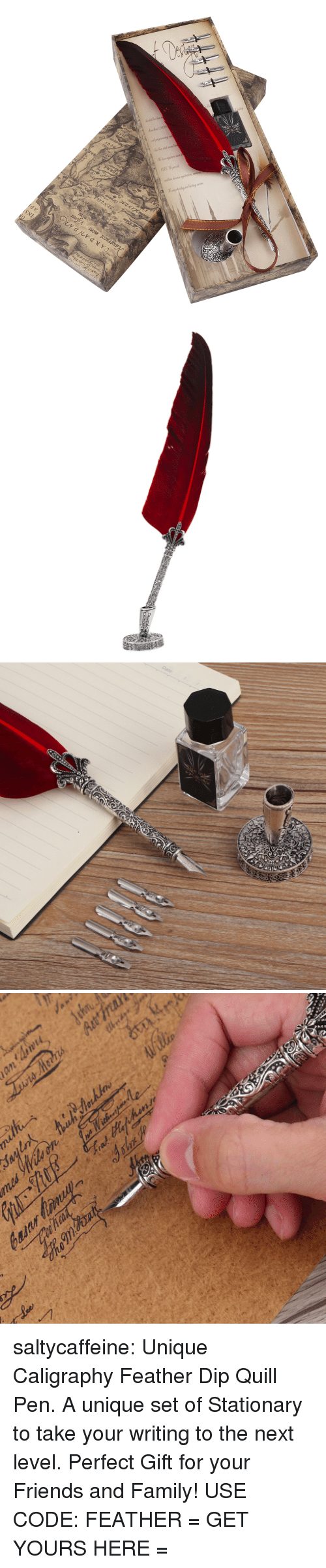 Quill: saltycaffeine: Unique Caligraphy Feather Dip Quill Pen. A unique set of Stationary to take your writing to the next level. Perfect Gift for your Friends and Family! USE CODE: FEATHER = GET YOURS HERE =