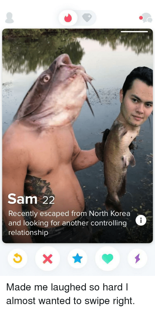 North Korea, Another, and Korea: Sam 22  Recently escaped from North Korea  and looking for another controlling  relationship Made me laughed so hard I almost wanted to swipe right.