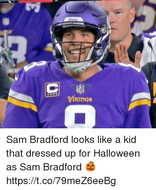 Halloween, Nfl, and Sam Bradford: Sam Bradford looks like a kid that dressed up for Halloween as Sam Bradford 🎃 https://t.co/79meZ6eeBg