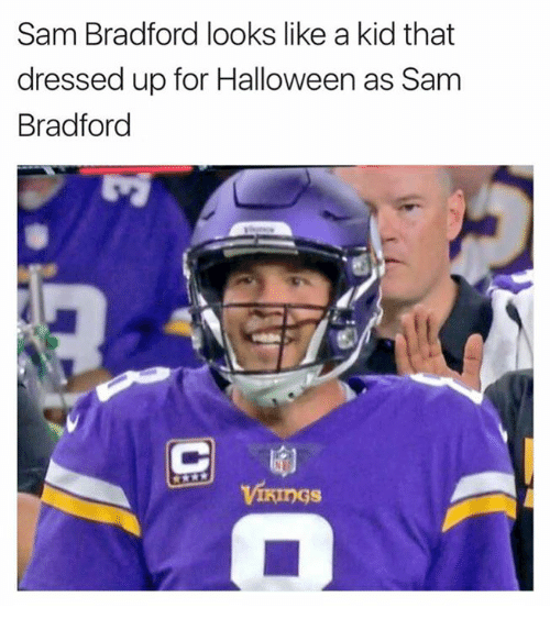 Halloween, Nfl, and Sam Bradford: Sam Bradford looks like a kid that  dressed up for Halloween as Sam  Bradford  ViRings