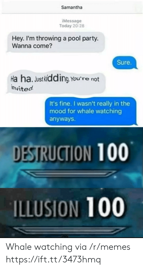 destruction: Samantha  IMessage  Today 20:28  Hey. I'm throwing a pool party.  Wanna come?  Sure.  Ha ha. Justkidding You're not  invited  It's fine. I wasn't really in the  mood for whale watching  anyways.  DESTRUCTION 100  ILLUSION 100 Whale watching via /r/memes https://ift.tt/3473hmq