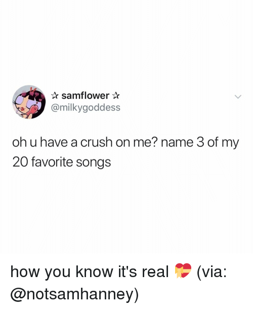 my 20: samflower*  @milkygoddess  oh u have a crush on me? name 3 of my  20 favorite songs how you know it's real 💝 (via: @notsamhanney)