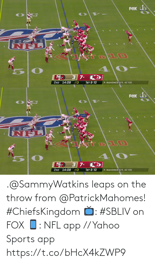 yahoo sports: .@SammyWatkins leaps on the throw from @PatrickMahomes! #ChiefsKingdom  📺: #SBLIV on FOX 📱: NFL app // Yahoo Sports app https://t.co/bHcX4kZWP9