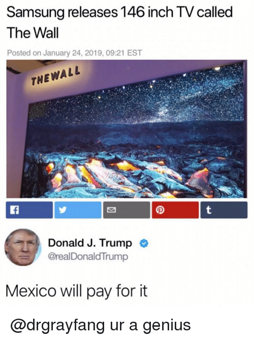 Funny, Genius, and Mexico: Samsung releases 146 inch TV called  The Wall  Posted on January 24, 2019, 09:21 EST  THEWALL  aDonald J. Trump  @realDonaldTrump  Mexico will pay for it @drgrayfang ur a genius