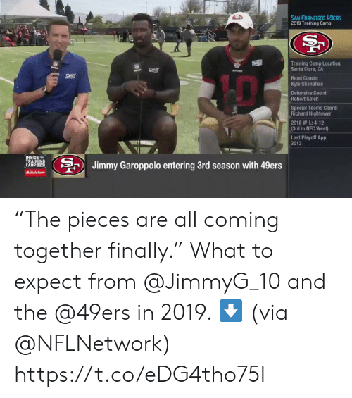 """Defensive: SAN FRANCISCO 49ERS  2019 Training Camp  Training Camp Location:  Santa Clara, CA  Head Coach:  Kyle Shanahan  Defensive Coord  Robert Saleh  Special Teams Coord:  Richard Hightower  2018 W-L: 4-12  (3rd in NFC West)  Last Playoff App:  2013  INSIDE  TRAINING  CAMP EIVE  BJimmy Garoppolo entering 3rd season with 49ers  AState Farm """"The pieces are all coming together finally.""""  What to expect from @JimmyG_10 and the @49ers in 2019. ⬇️  (via @NFLNetwork) https://t.co/eDG4tho75I"""