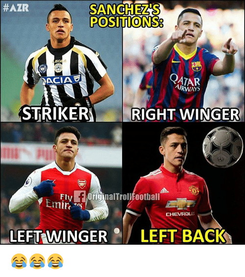 Memes, Qatar, and Back: SANCHEZ'S  POSITIONS  #AZR  0  QATAR  AIRWAYS  ACIA  STRIKER RIGHT WINGER  Fly f OriginalTrollEootball  Emirs  CHEVROLE  LEFT WINGERLEFT BACK 😂😂😂
