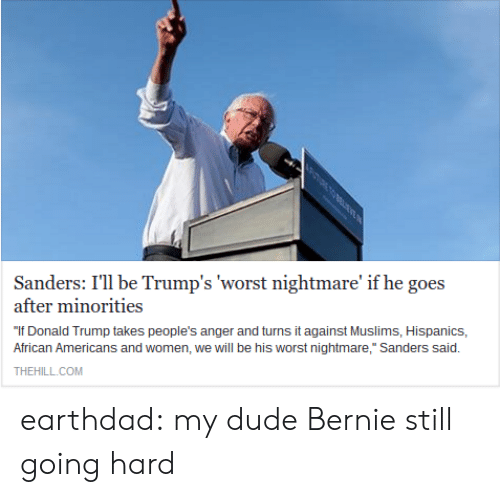 """African Americans: Sanders: I'll be Trump's 'worst nightmare' if he goes  after minorities  """"If Donald Trump takes people's anger and turns it against Muslims, Hispanics,  African Americans and women, we will be his worst nightmare,"""" Sanders said.  THEHILL.COM earthdad:  my dude Bernie still going hard"""