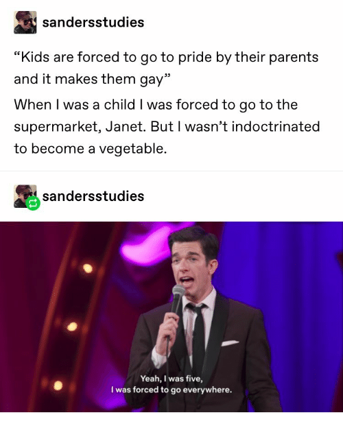 "janet: sandersstudies  ""Kids are forced to go to pride by their parents  and it makes them gay""  When I was a child I was forced to go to the  supermarket, Janet. But I wasn't indoctrinated  to become a vegetable.  sandersstudies  Yeah, I was five,  I was forced to go everywhere."