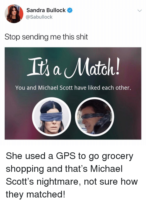 grocery shopping: Sandra Bullock  @Sabullock  Stop sending me this shit  Its a Match  You and Michael Scott have liked each other. She used a GPS to go grocery shopping and that's Michael Scott's nightmare, not sure how they matched!
