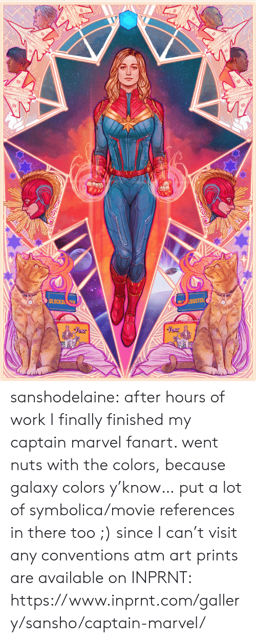 captain marvel: sanshodelaine: after hours of work I finally finished my captain marvel fanart. went nuts with the colors, because galaxy colors y'know… put a lot of symbolica/movie references in there too ;) since I can't visit any conventions atm art prints are available on INPRNT: https://www.inprnt.com/gallery/sansho/captain-marvel/