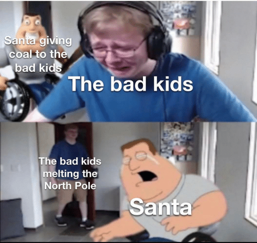 North: Santa giving  coal to the  bad kids  The bad kids  The bad kids  melting the  North Pole  Santa