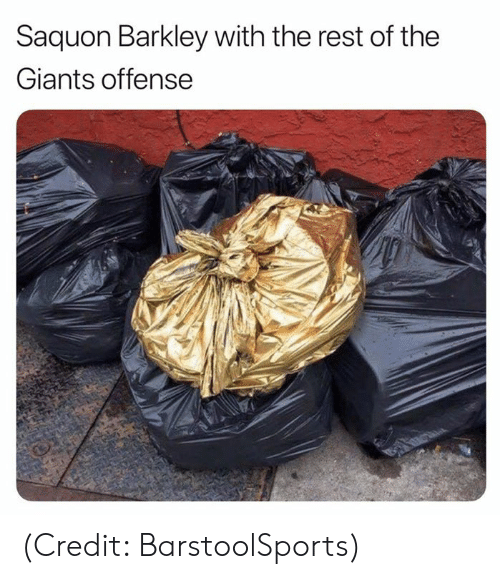 barkley: Saquon Barkley with the rest of the  Giants offense (Credit: BarstoolSports)