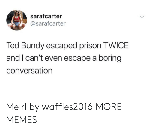 nam: sarafcarter  NAM  @sarafcarter  Ted Bundy escaped prison TWICE  and I can't even escape a boring  conversation Meirl by waffles2016 MORE MEMES