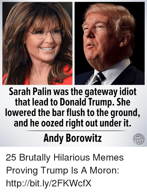 Sarah Palin: Sarah Palin was the gateway idiot  that lead to Donald Trump. She  lowered the bar flush to the ground  and he oozed right out under it.  Andy Borowitz  Other98 25 Brutally Hilarious Memes Proving Trump Is A Moron: http://bit.ly/2FKWcfX