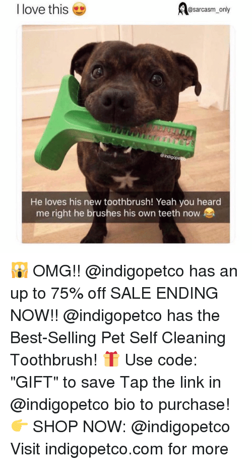 "heard me: @sarcasm_only  I love this  ind  gope  He loves his new toothbrush! Yeah you heard  me right he brushes his own teeth now 🙀 OMG!! @indigopetco has an up to 75% off SALE ENDING NOW!! @indigopetco has the Best-Selling Pet Self Cleaning Toothbrush! 🎁 Use code: ""GIFT"" to save Tap the link in @indigopetco bio to purchase! 👉 SHOP NOW: @indigopetco Visit indigopetco.com for more"