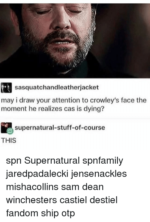 spn: sasquatchandleatherjacket  may i draw your attention to crowley's face the  moment he realizes cas is dying?  supernatural-stuff-of-course  THIS spn Supernatural spnfamily jaredpadalecki jensenackles mishacollins sam dean winchesters castiel destiel fandom ship otp