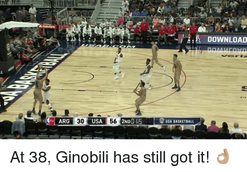usa basketball: sAState Farm  ARG 30  USA 56  2NDO .5 TV USA BASKETBALL  DOWNLOAD At 38, Ginobili has still got it! 👌🏽