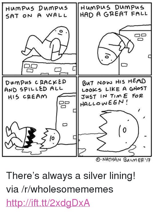 """racked: SAT oN A WALL HAD A GREAT FALL  DumPus C RACKED  AND SPILLED ALL  HIS CREAM  BuT NOw HIS HEAD  LOOKs LIKE A GHoST  JuST IN TimE FoR  