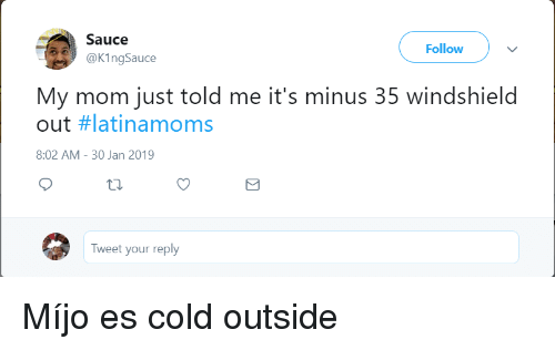 minus: Sauce  @KingSauce  Follow  My mom just told me it's minus 35 windshield  out #latinamoms  8:02 AM- 30 Jan 2019  Tweet your reply Míjo es cold outside