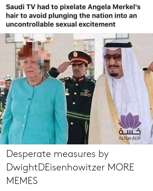 the nation: Saudi TV had to pixelate Angela Merkel's  hair to avoid plunging the nation into an  uncontrollable sexual excitement Desperate measures by DwightDEisenhowitzer MORE MEMES