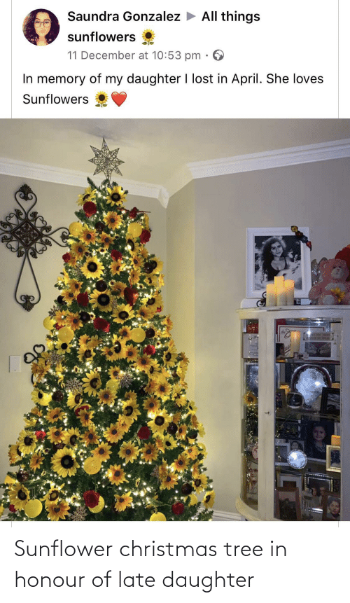 April: Saundra Gonzalez > All things  sunflowers  mis  11 December at 10:53 pm  In memory of my daughter I lost in April. She loves  Sunflowers  SLAY HOM  ase Sunflower christmas tree in honour of late daughter