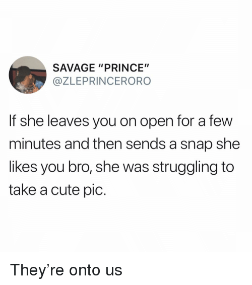 """Cute, Funny, and Prince: SAVAGE """"PRINCE""""  @ZLEPRINCERORO  If she leaves you on open for a few  minutes and then sends a snap she  likes you bro, she was struggling to  take a cute pic. They're onto us"""