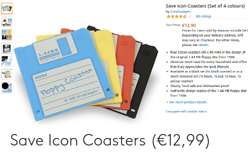 icon: Save Icon Coasters (€12,99)