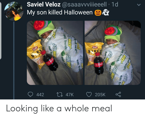 cola: Saviel Veloz @saaavvviiieeell 1d  My son killed Halloween  ES  Lays  Lays  B KET  -65% LESS  BAKED  65 E  gal  Coca-Cola  442  Li 47K  205K  Fresh.  PASSUBI  at  esh.  FEWAY  eat fr  lat fresh  SUBWAY  eat  fre  SUBWA  eat fre  eat fresh UBWAY  eat  SUBWA  eat resh  EWAY  eat fr Looking like a whole meal