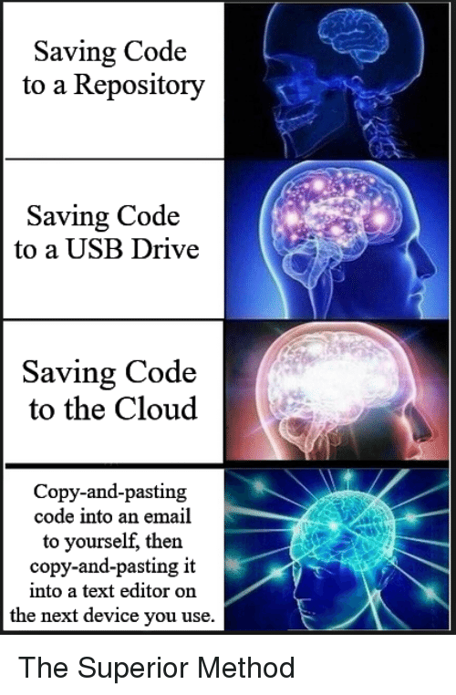 the cloud: Saving Code  to a Repository  Saving Code  to a USB Drive  Saving Code  to the Cloud  Copy-and-pasting  code into an email  to yourself, then  copy-and-pasting it  into a text editor on  the next device you use. The Superior Method