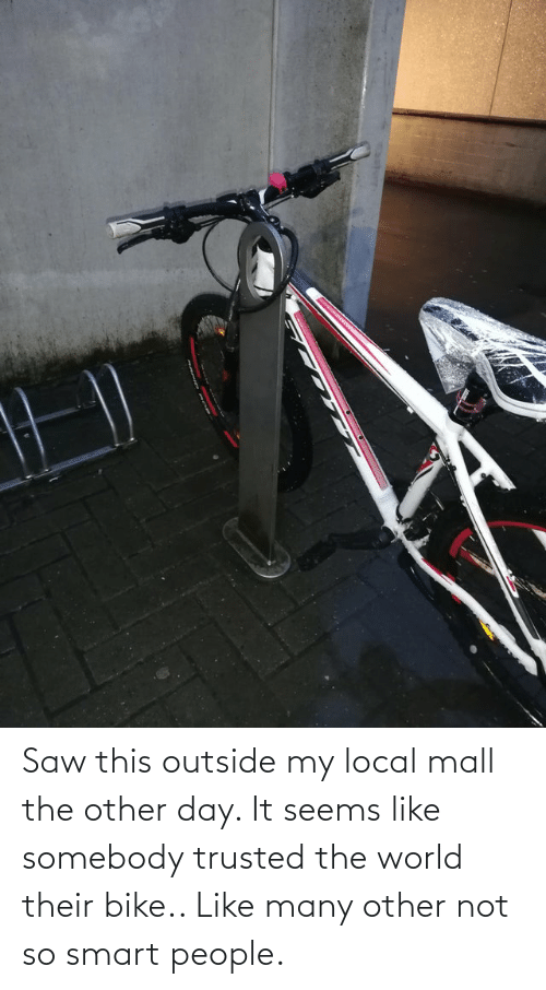 smart people: Saw this outside my local mall the other day. It seems like somebody trusted the world their bike.. Like many other not so smart people.