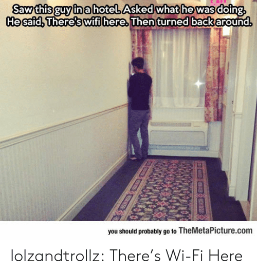 Hotel: Sawthis guy ina hotel Asked what he was doing  Hesafd, There's wifi here Then turned back around.  you should probably go to TheMetaPicture.com lolzandtrollz:  There's Wi-Fi Here