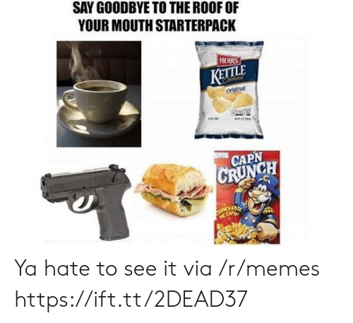 Memes, Via, and Kettle: SAY GOODBYE TO THE ROOF OF  YOUR MOUTH STARTERPACK  HERRS  KETTLE  original  CAPN  CH Ya hate to see it via /r/memes https://ift.tt/2DEAD37