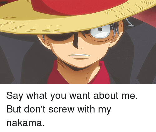 nakama: Say what you want about me. But don't screw with my nakama.