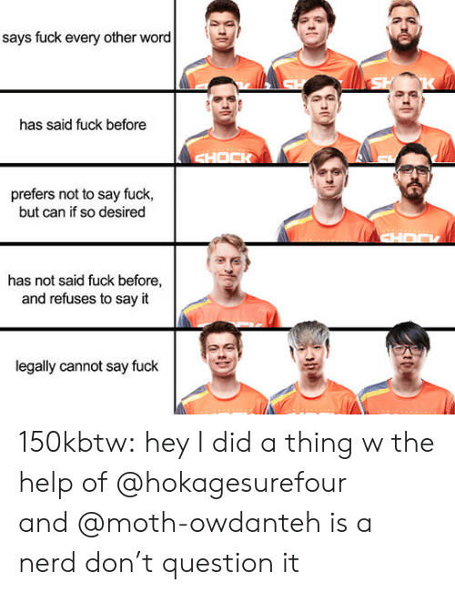 Nerd, Tumblr, and Say It: says fuck every other word  has said fuck before  prefers not to say fuck,  but can if so desired  has not said fuck before,  and refuses to say it  legally cannot say fuck 150kbtw:  hey I did a thing w the help of @hokagesurefour and@moth-owdanteh is a nerd don't question it