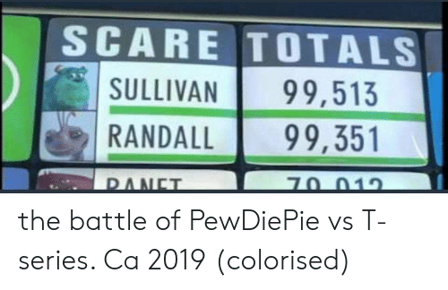 pewdiepie: SCARE TOTALS  SULLIVAN 99,513  RANDALL99,351 the battle of PewDiePie vs T-series. Ca 2019 (colorised)