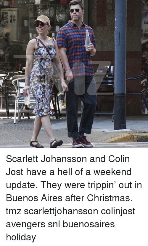 aires: Scarlett Johansson and Colin Jost have a hell of a weekend update. They were trippin' out in Buenos Aires after Christmas. tmz scarlettjohansson colinjost avengers snl buenosaires holiday
