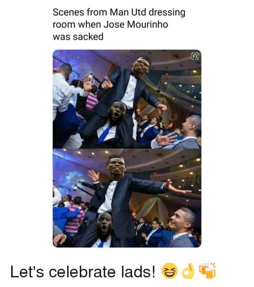 José Mourinho: Scenes from Man Utd dressing  room when Jose Mourinho  was sacked Let's celebrate lads! 😆👌🍻