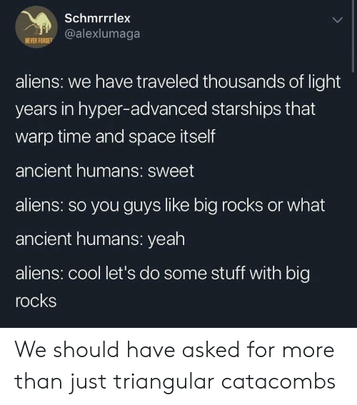 Yeah, Aliens, and Cool: Schmrrrlex  @alexlumaga  NEVER FORGE  aliens: we have traveled thousands of light  years in hyper-advanced starships that  warp time and space itself  ancient humans: sweet  aliens: so you guys like big rocks or what  ancient humans: yeah  aliens: cool let's do some stuff with big  rocks We should have asked for more than just triangular catacombs